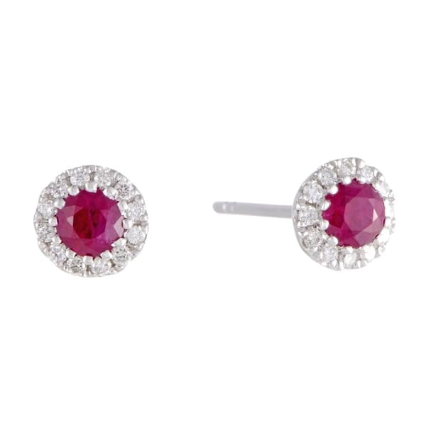 White Gold Diamond Pave And Ruby Small Stud Earrings