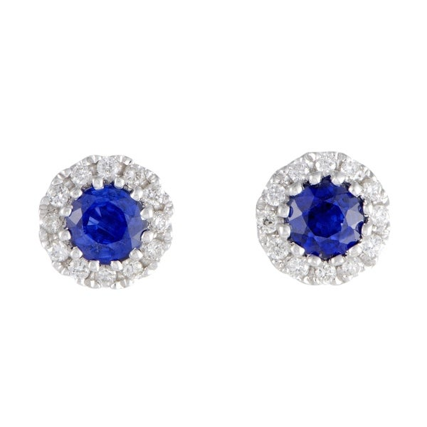 00914b3e187aa Shop White Gold Diamond Pave and Sapphire Small Round Stud Earrings ...