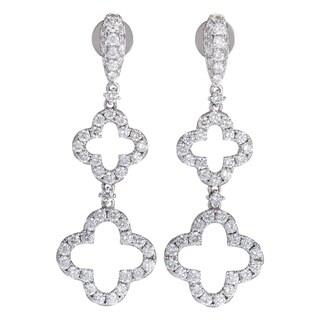 White Gold Full Diamond Pave Dangling Quatrefoil Earrings