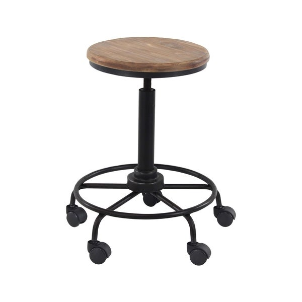shop industrial 23 inch round bar stool with wheels by studio 351 free shipping today. Black Bedroom Furniture Sets. Home Design Ideas