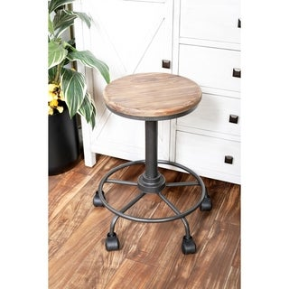 Rustic Iron and Wood Round Bar Stool with Wheels