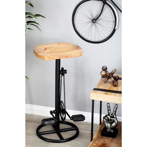 Industrial 32 x 6 Inch Iron Pedal and Gears Bar Stool by Studio 350