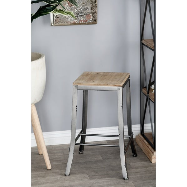 Shop Farmhouse 24 X 16 Inch Wood And Iron Square Gray Counter Stool Free Shipping