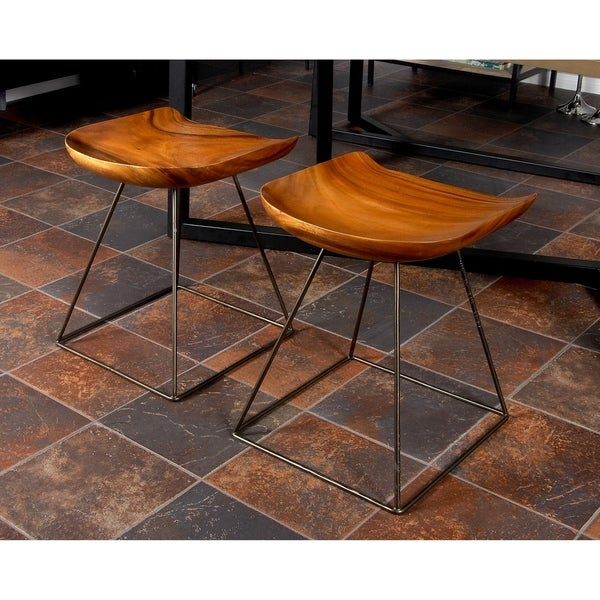 Shop Rustic Suar Wood And Iron Square Seat Stool On Sale
