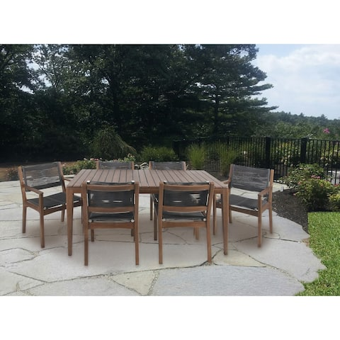 Rustic 7-Piece Teak Wood and Stainless Steel Dining Set by Studio 350