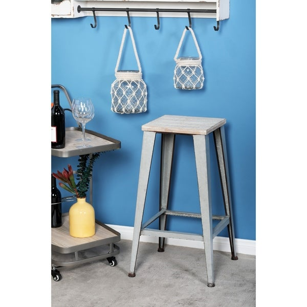 Shop Farmhouse 29 Inch Square Wooden Stool With Iron Legs
