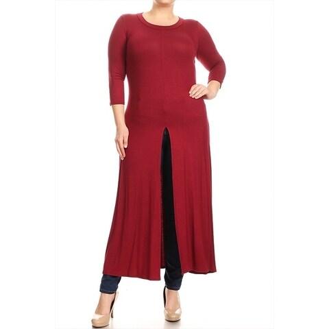 Women's Solid Long Body Side Slit Plus Size Top