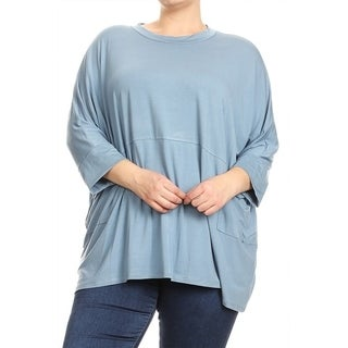 Women's Solid Plus Size Boxy Dolman Tunic Top