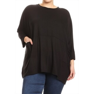 Women's Solid Plus Size Boxy Dolman Tunic Top (More options available)