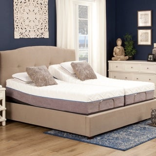 "Blissful Nights 12"" Gel Cal King Split Memory Foam Mattress and Adjustable Base"