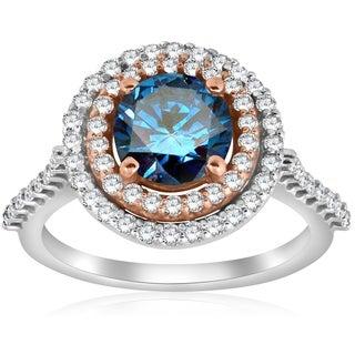 Bliss 14K Rose & White Gold 2 ct TDW Blue Diamond Double Halo Engagement Ring - White G-H
