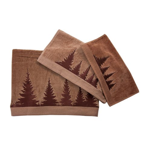 3 PC Towel Set Clearwater Pines, 3-pc Mocha