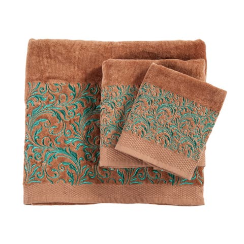 3 PC Towel Set Scroll Pattern, 3-pc Mocha