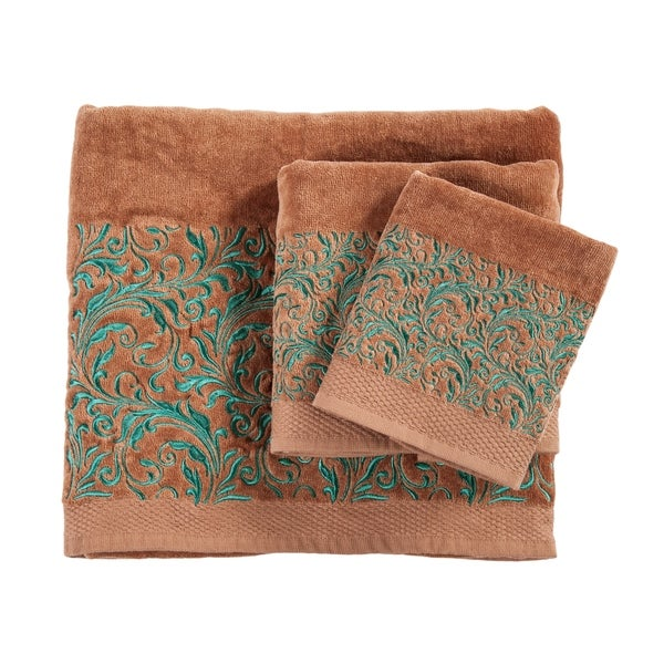 Shop 3 Pc Towel Set Scroll Pattern 3 Pc Mocha Free