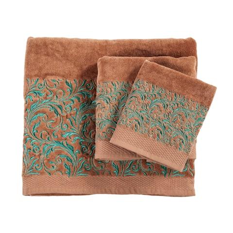 3 PC Towel Set Scroll Pattern, 3-pc Mocha
