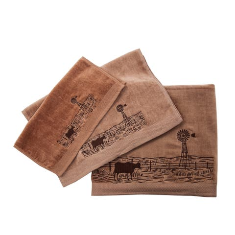 3 PC Towel Set with embroideRed windmill landscape , 3-pc Mocha