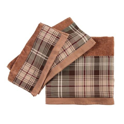 3 PC Forest Pines Plaid Towel Set, 3Sizes Mocha