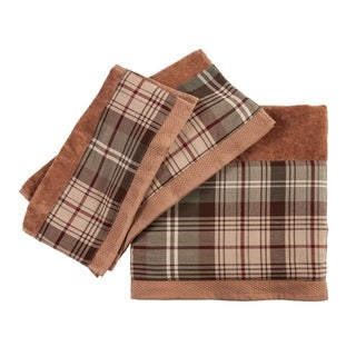 3 PC Forest Pines Plaid Towel Set, 3Sizes Mocha