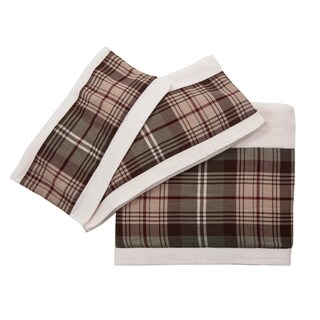 3 PC Forest Pines Plaid Towel Set, 3Sizes Cream