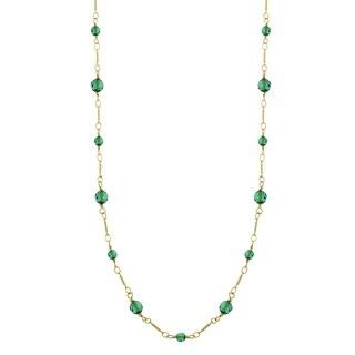 Downton Abbey Gold Tone Green Beads Chain Necklace 36in