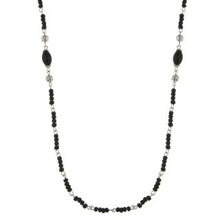 Downton Abbey Silver Tone Black and Filigree Beads Necklace 36in