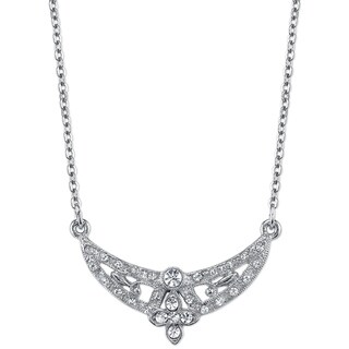 Downton Abbey Silver Tone Crystal Floral Scallop Necklace 16in Adj.