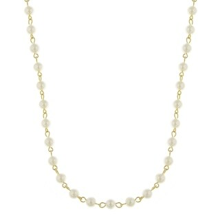 Downton Abbey Gold Tone 6mm White Simulated Pearls Chain Necklace 36in