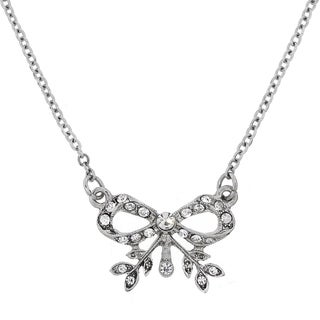 Downton Abbey Silver Tone Crystal Edwardian Bow Necklace 16in Adj.