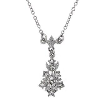 Downton Abbey Silver Tone Crystal Petite Belle Epoch Starburst Drop Pendant Necklace 16in Adj.