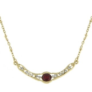 Downton Abbey Gold Tone Edwardian with Red Center Stone Collar Necklace 16in Adj.