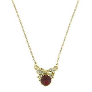 Downton Abbey Gold Tone Petite Edwardian with Red Center Stone Bow Necklace 16in Adj.