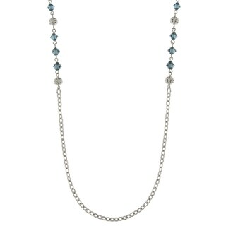 Downton Abbey Silver Tone Filigree Balls Blue Beads Chain Necklace 36in