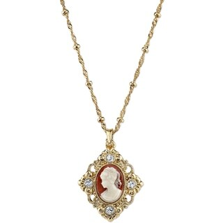 Downton Abbey Gold Tone Cameo with Crystal Accent Pendant Necklace 16in Adj.