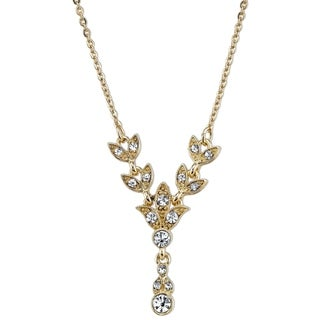 Downton Abbey Gold Tone Crystal Leaf Drop Necklace 16in Adj.