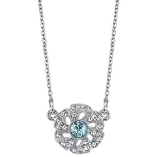 Downton Abbey Silver Tone Blue and Crystal Flower Necklace 16in Adj.