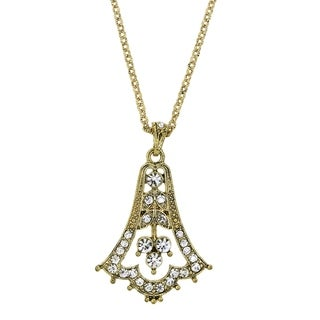 Downton Abbey Gold Tone Edwardian Bell with Pave Crystal Pendant Necklace 16in Adj.