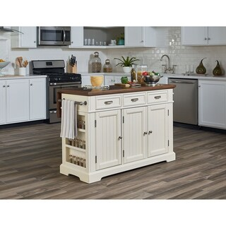 INSPIRED by Bassett Farmhouse Basics White Kitchen Island with Vintage Oak and Granite Top