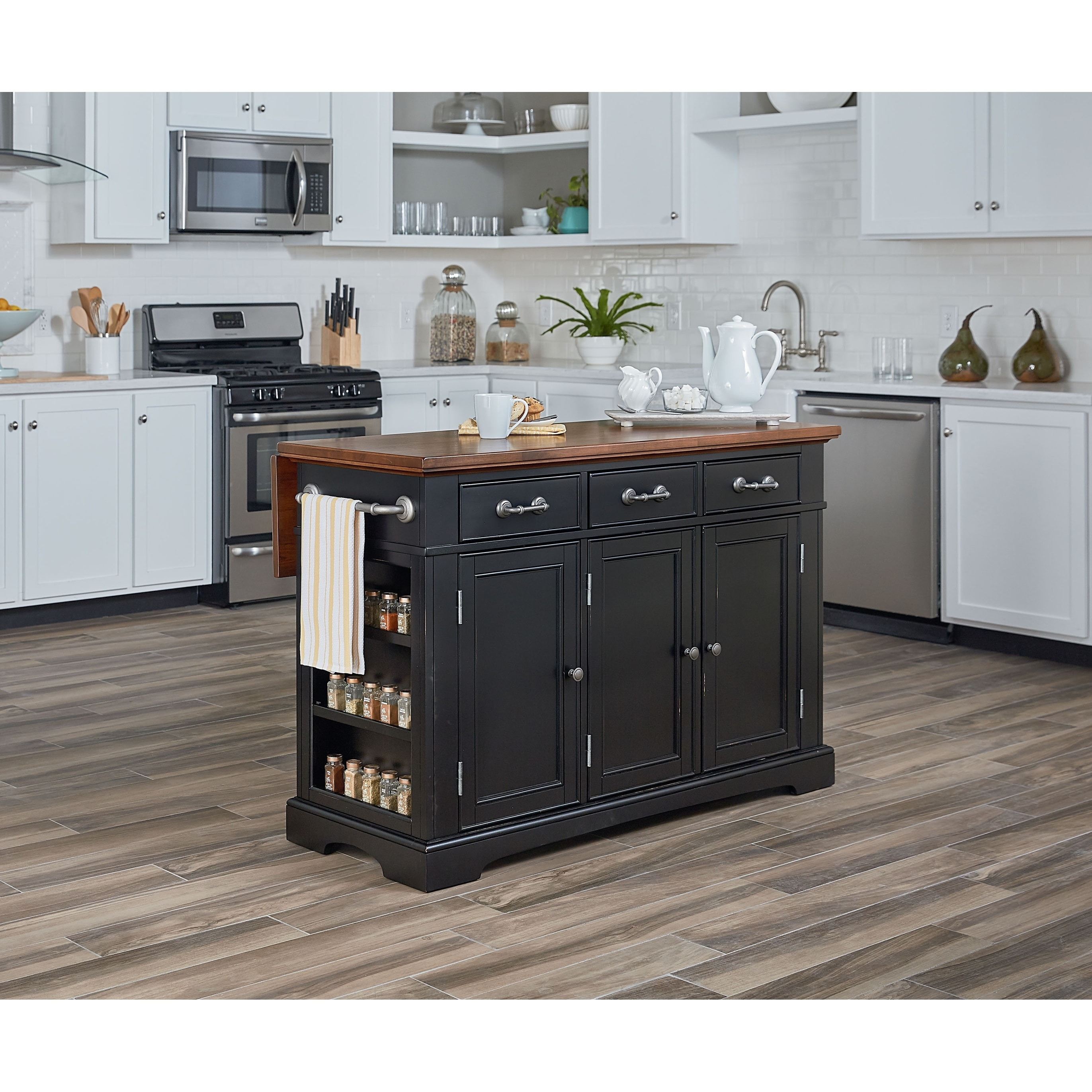 Country Kitchen Large Kitchen Island in Black Distressed Finish with  Vintage Oak Top
