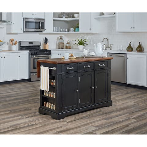 OSP Home Furnishings Country Kitchen Large Kitchen Island in Black Distressed Finish with Vintage Oak Top
