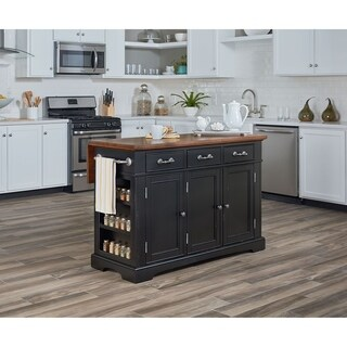 INSPIRED by Bassett Country Kitchen Large Kitchen Island in Black Distressed Finish with Vintage Oak Top
