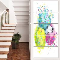 Designart 'Cute White Dog with Color Spheres' Contemporary Animal Art Canvas