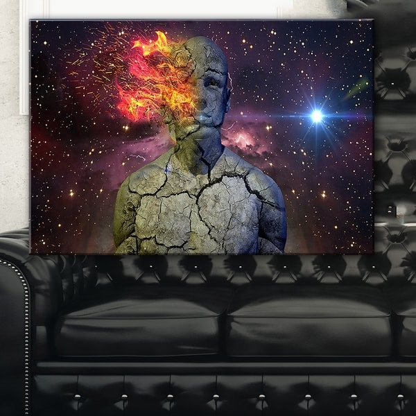 Shop Broken Human Body With Fire Abstract Art Canvas Print