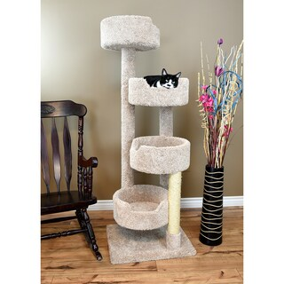 New Cat Condos Solid Wood Cat Stairway Cat Tree Tower (Option: Beige)