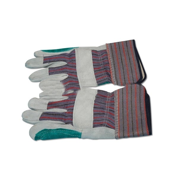 Heavy Duty leather Work Gloves with Safety Cuff and Wing Thumb, 6-Pair