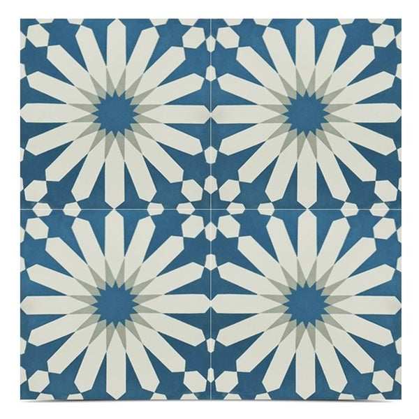 Shop Alhambra Blue And White Handmade Moroccan X Inch Cement And - Blue and white tiles for sale