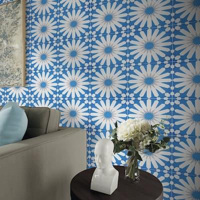 Handmade Alhambra in Blue, Grey, White Tile, Pack of 12 (Morocco)