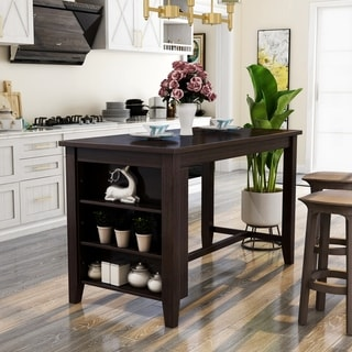 Furniture Of America Desmond Rustic Dark Walnut Wood Counter Height Table  With Built In