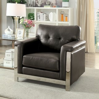 Furniture of America Rodeyo Modern Stainless Steel Accent Chair