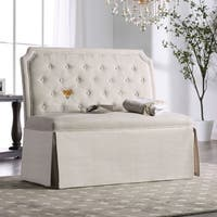 Furniture of America Eriss Transitional Button Tufted Skirted Loveseat Bench