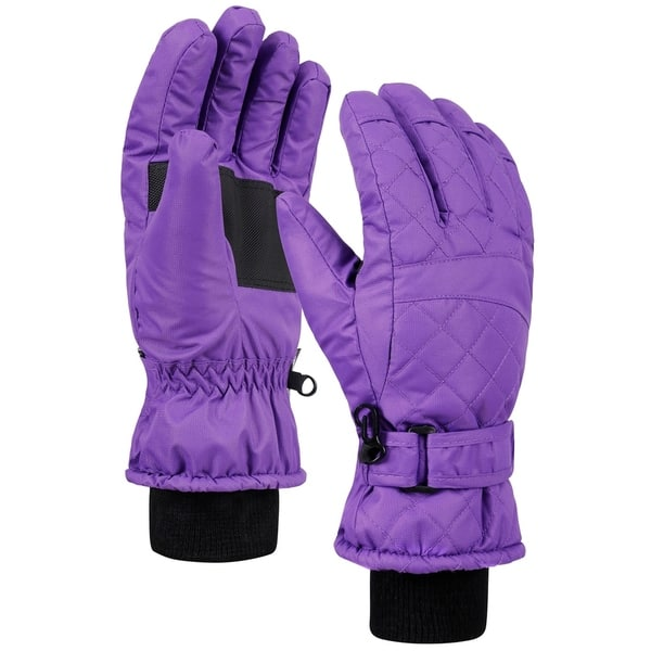 Womens Black Quilted Ski Gloves Thinsulate Lining Grippers. Waterproof Liner